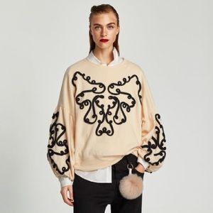 Zara Contrast Sweatshirt with Ribbons